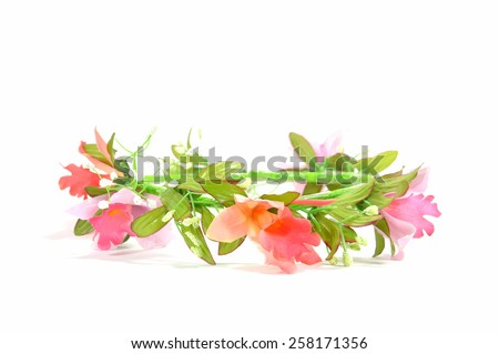 beautiful pink flower crown isolated on white background - stock photo