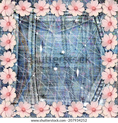 Beautiful pink flowers on blue background old jeans - stock photo