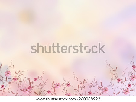 beautiful pink flowers with brunches design over blur background. Pastel, sweet, romantic, valentine, birthday, invitation, wedding, natural, soft, spring concept background - stock photo