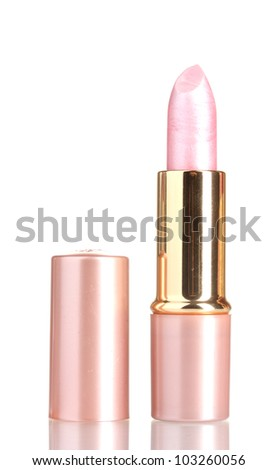 beautiful pink lipstick isolated on white - stock photo