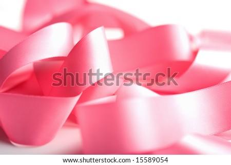 beautiful pink ribbon isolated - stock photo