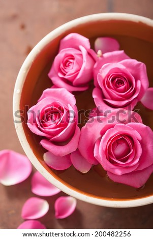 beautiful pink roses bouquet in vase  - stock photo