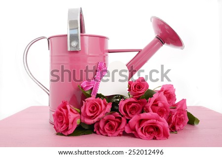 Beautiful pink Spring time watering can and pink roses on vintage wood background. - stock photo
