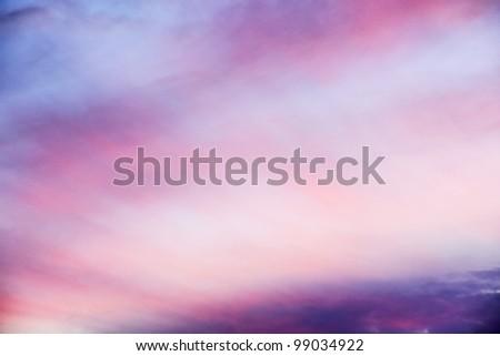 Beautiful pink sunset, very airy clouds, heaven like. - stock photo