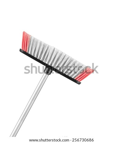 Beautiful pinkwith white mop on a white background - stock photo