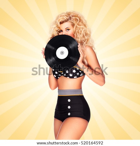 Beautiful pinup bikini model, holding an LP vinyl record on colorful abstract cartoon style background.