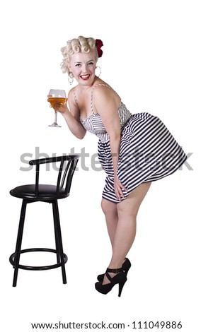 Beautiful pinup retro girl with wine enjoying cool air from fan - Isolated White Background - stock photo
