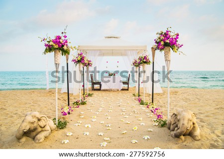 Beautiful place for romantic dinner on the beach. Samui island, Thailand. - stock photo