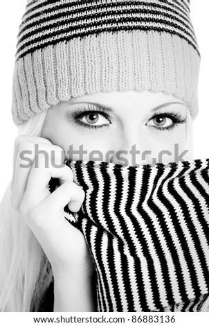 Beautiful Playful Winter Woman - stock photo