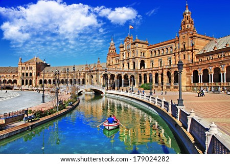 beautiful Plaza de Espana, Sevilla, Spain  - stock photo