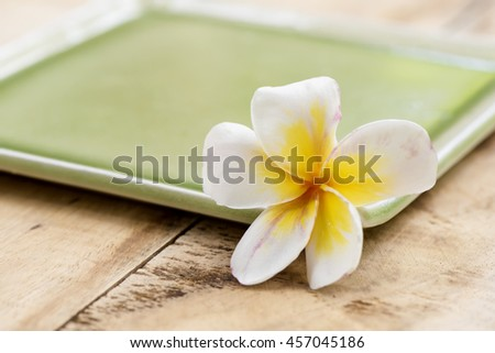 Beautiful plumeria and spa treatment. - stock photo