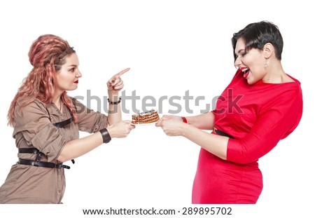 Beautiful plus size woman wants to eat cake isolated on white background - stock photo