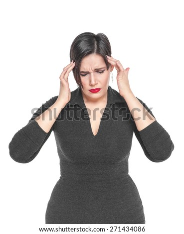 Beautiful plus size woman with headache isolated on white background - stock photo
