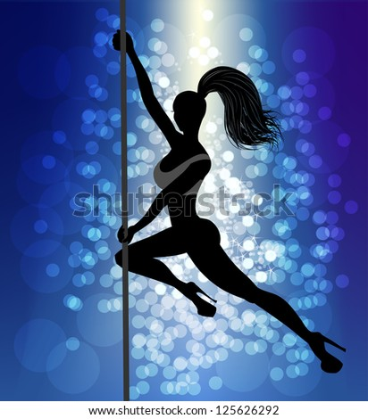 beautiful pole dancer silhouette, raster version of vector illustration - stock photo