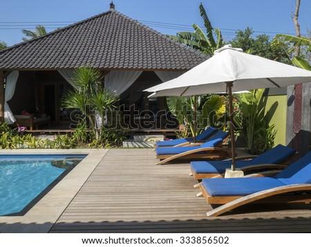 Beautiful pool with villa view - stock photo