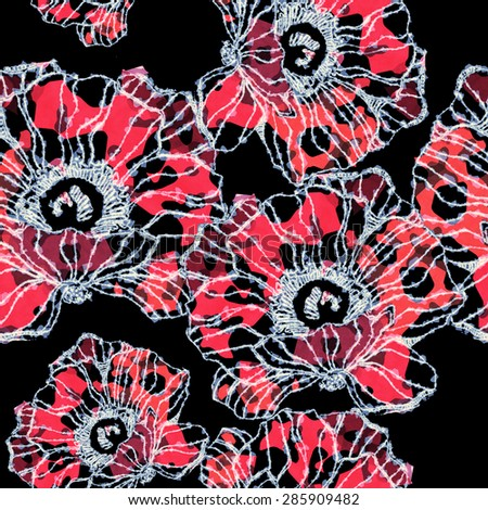 Beautiful poppies with textured pattern