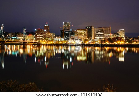 Beautiful portland skyline - stock photo