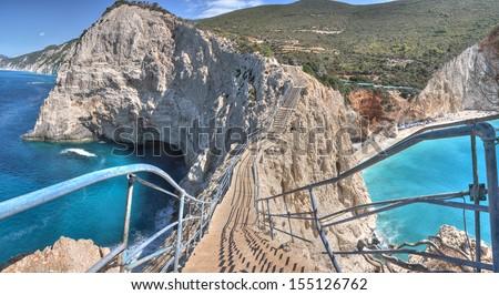 Beautiful Porto Katsiki beach panorama, one of the most famous beach in Lefkada Island, Greece. - stock photo