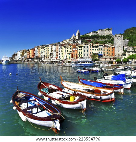 beautiful Portovenere - Ligurian coast of Italy - stock photo