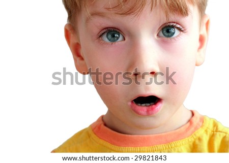 beautiful portrait of a boy on a white background