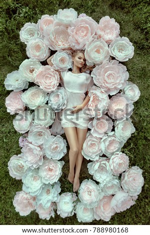 Beautiful portrait woman big paper flowers stock photo royalty free beautiful portrait of a woman with big paper flowers mightylinksfo