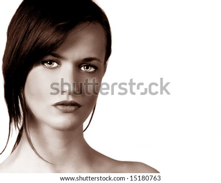 Beautiful Portrait of a Young Model on grey - stock photo