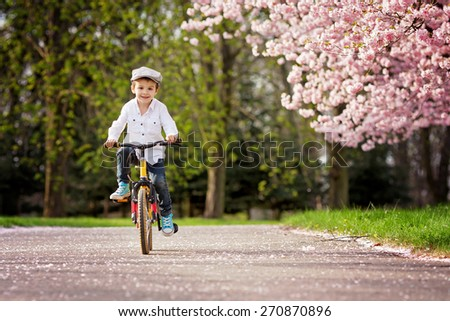 Beautiful portrait of adorable little caucasian boy, riding a bike on an alley in a cherry blossom tree garden, late spring afternoon - stock photo