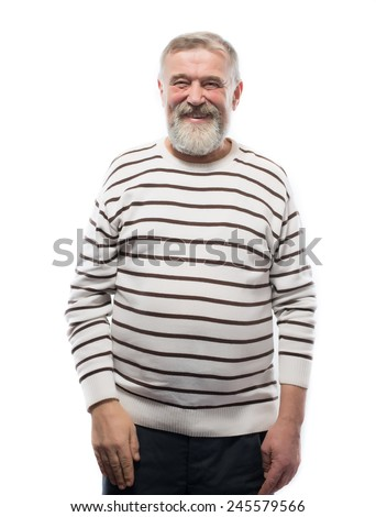 beautiful portrait of an elderly man with a beard - stock photo