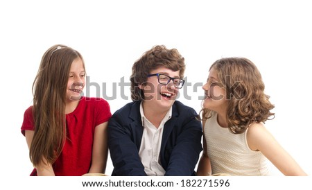 Beautiful portrait of Brother and two Sisters  - stock photo