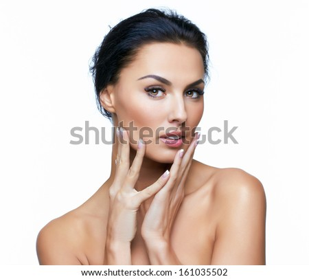 of european young woman model, on white background. More photos
