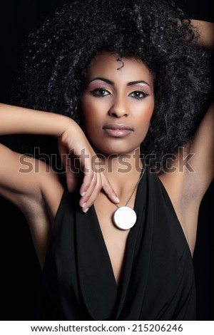 beautiful portrait of mulatto model - stock photo