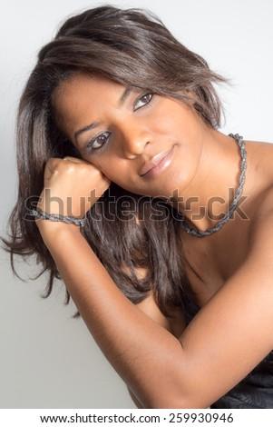 beautiful portrait of mulatto woman - stock photo