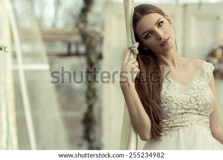 Beautiful portrait of natural woman - stock photo