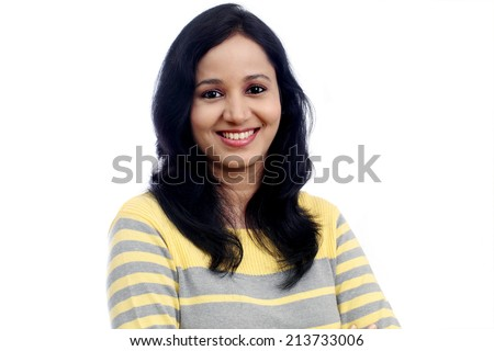 Beautiful portrait of young woman against white background - stock photo