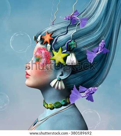 Beautiful  portrait with fantasy make up and fishes - stock photo