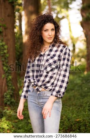 Beautiful Portuguese Woman Outdoor Portrait - stock photo