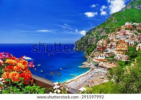 beautiful Positano. Coast of Amalfi, Italy - stock photo