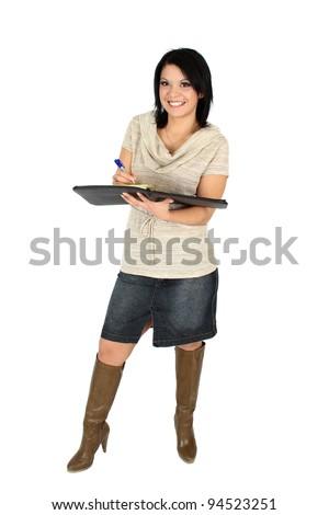 Beautiful positive brunette business woman holding a file - stock photo
