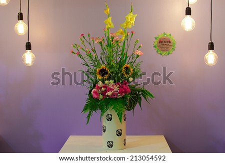 Beautiful potted flower arrangements at FLORIA event held in Putrajaya, Malaysia. - stock photo