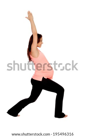 Beautiful pregnant woman doing stretching isolated on a white background - stock photo