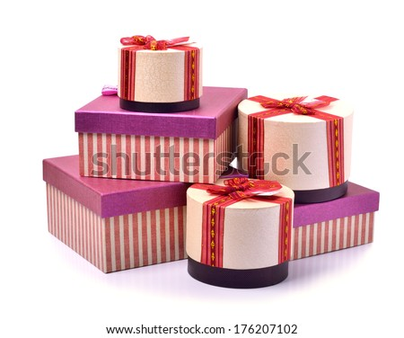 Beautiful present boxes isolated on white  - stock photo