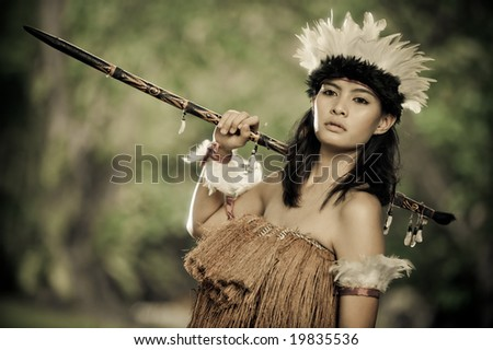 beautiful primitive hunter - stock photo