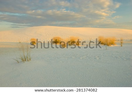Beautiful, pristine White Sands National Monument, in southern New Mexico, bathed in evening light. - stock photo