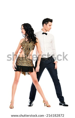 Beautiful professional artists dancing passionate dance. Isolated over white. - stock photo