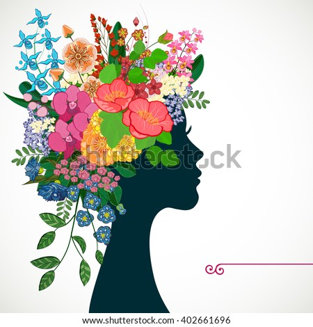 Beautiful profile young woman with tropicl flowers in heir hair. Illustration greeting card beauty and fashion.  - stock photo