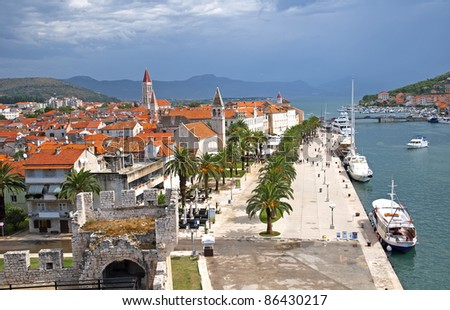 Beautiful promenade Adriatic Sea in Croatia Trogir
