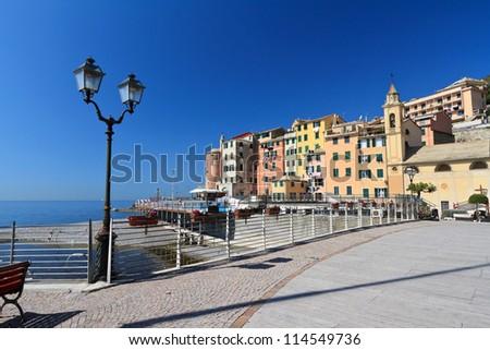 beautiful promenade in Sori, small village in Liguria, Italy - stock photo