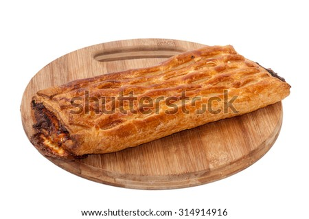 Beautiful puff pastry stuffed with meat.