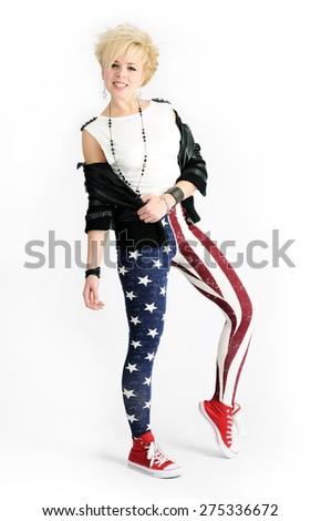 beautiful punk girl - stock photo