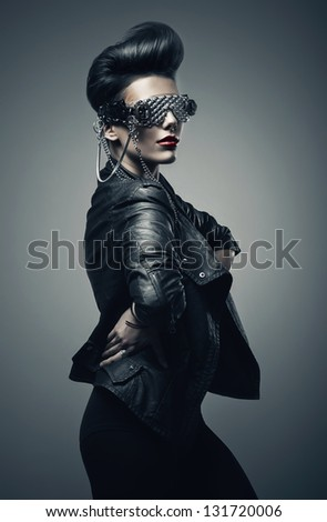 beautiful punk woman in leather jacket - stock photo
